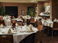 Delicious meals are served in Hilton Hotels dining area.