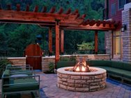 Enjoy the warmth of a private fire pit at Hilton Hotels.
