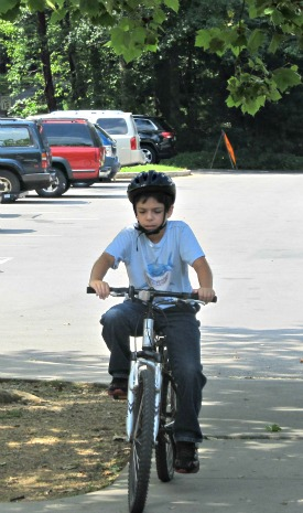 child mountain-biking fun