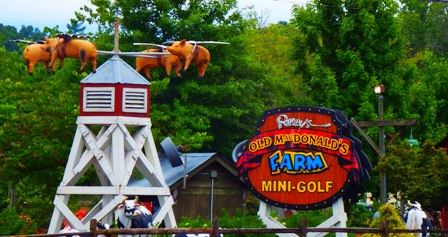 One of the most exciting of Pigeon Forge Attractions Ripley's Old McDonald Mini Golf.