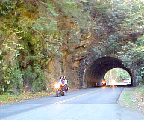 This Smoky Mountain Vacation tunnel is fun as all who go through blow their horn!