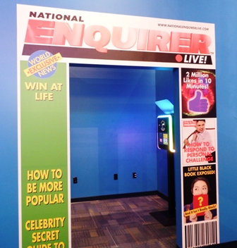 This Beyond The Lens Photo Booth Allows You Put Your Photo and Personal Headline on the Cover of National Enquirer.