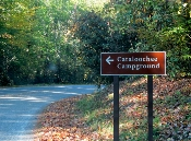 For great camping follow the Cataloochee campground sign