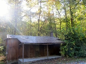 In these mountains sits a very old Cataloochee historical cabin.