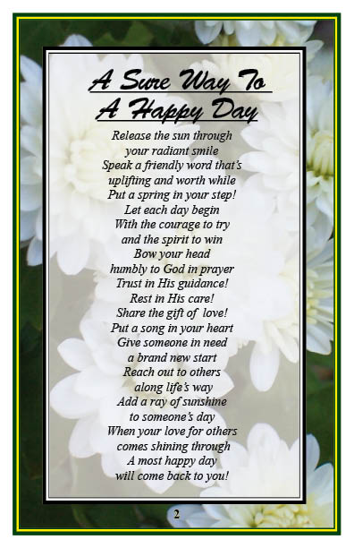 A Sure Way To a Happy Day is what christian-poems 3 is all about!