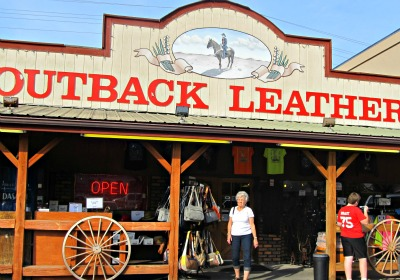 doing some cool clothes-shopping at outback leather