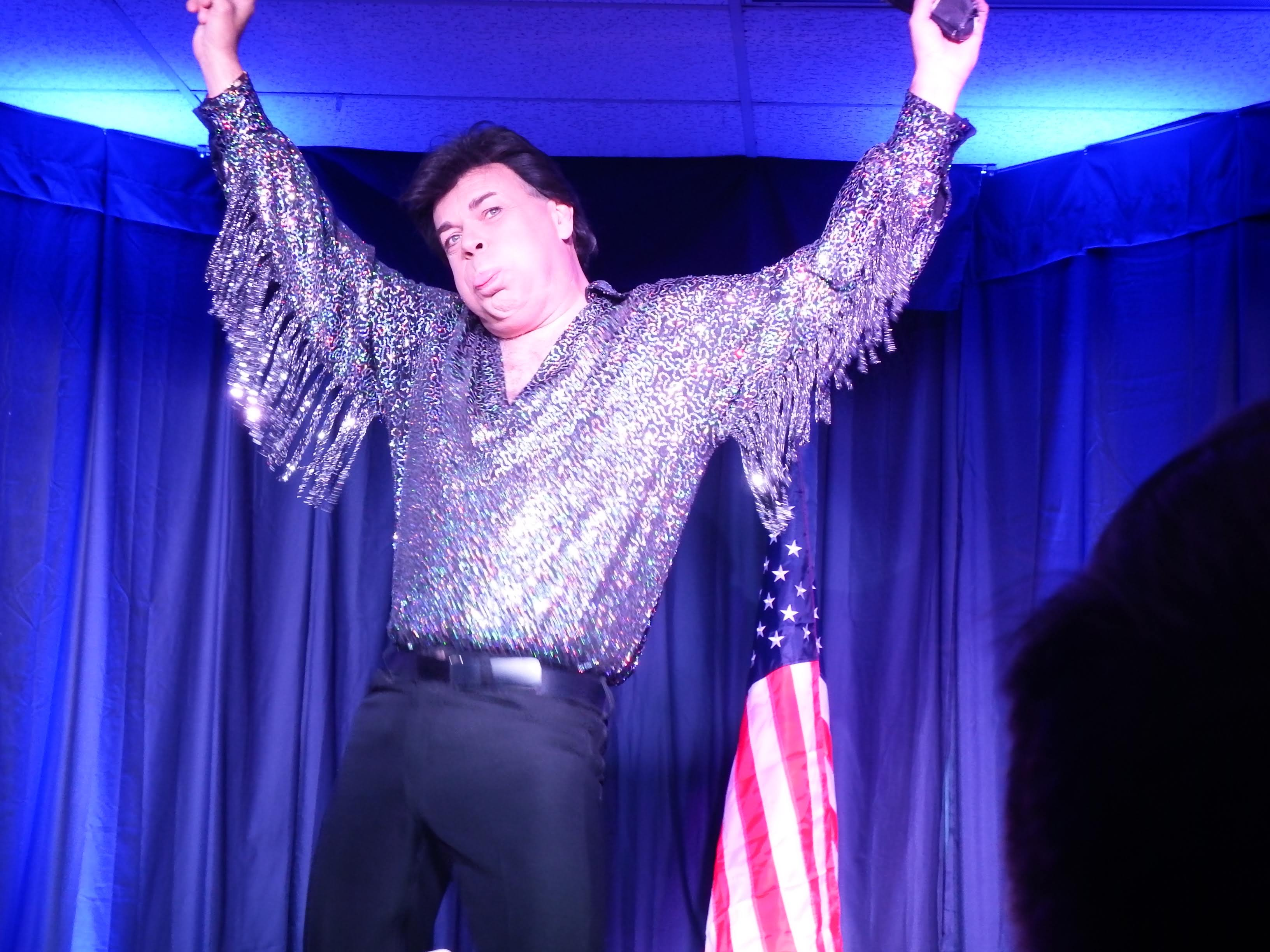 While performing during the Conway Twitty tribute Travis James gets a little crazy as Elvis Presley.