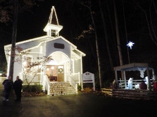 There's plenty of Christmas celebrating Christ inside the Dollywood Smoky Mountain Church.