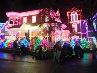 The Dollywood Smoky Mountain streets are lighted in colorful array throughout the park!