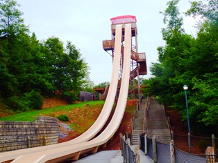 It's a fast ride down Dollywood Splash Country's Fire Tower Falls Slide!