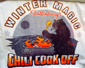 Follow this Gatlinburg Chili Cook-off sign to one of the Great Smoky Mountain's most exciting competitions!