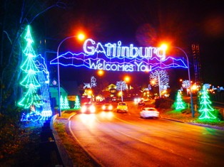 Come through the Gatlinburg Christmas Trolley Entrance for an array of beautiful lights.