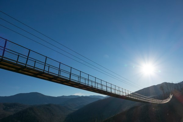 The Gatlinburg Skylift Bridge is filled with excitement and lovely mountain views!