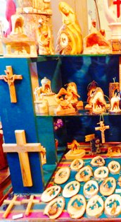 There is a huge selection of items inside this Glades Christian woodworking display.