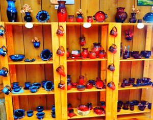 This is a beautiful Glades Pottery display inside Flowers Clay Works
