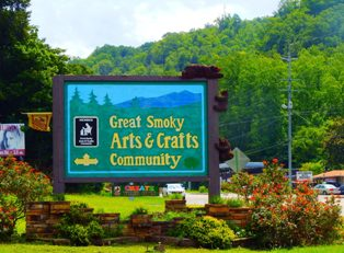 To find beautiful arts and crafts in the Smoky Mountains just follow the Glades sign.