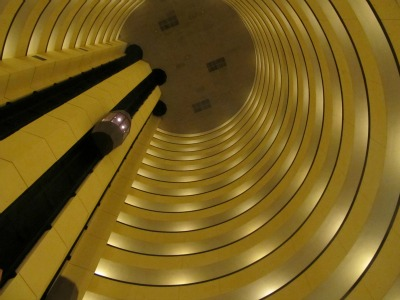 This Hilton Hotels structure has an elevator that is amazing to see and fun to ride.