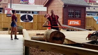 There are plenty of comical Lumberjack Feud antics that offer winnings for the audience.