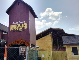 Paula Deen's Lumberjack Feud outdoor arena seats up to 350 people.