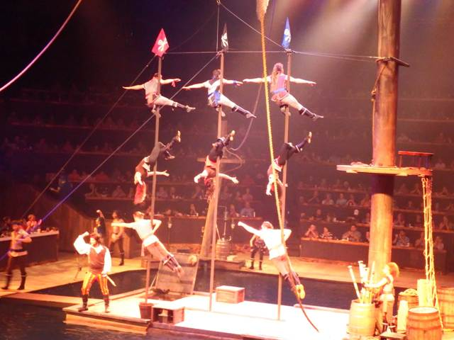 The Pirates Voyage acrobats perform lots of daring feats throughout the show!