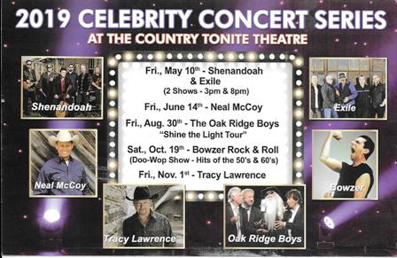 The 2019 Celebrity Concert Series is held at the Country Tonite Theater in Pigeon Forge.