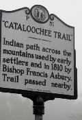 The sign leading to Cataloochie reveals some history about the area