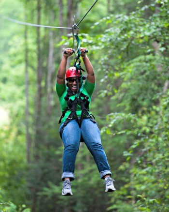 This girl visited Foxfire Mountain Ziplines for the time of her life!